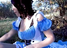 Amateur couple fuck in the cowgirl position at a picnic