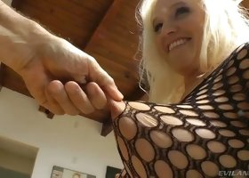 Stunning appetizing well stuck blonde head plays with toy in her butthole