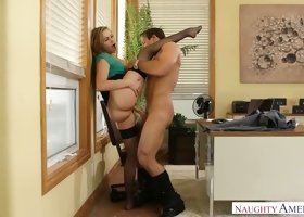 Fair haired spoiled sweetie Mia Malkova fucks with her dude in his office