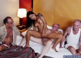 Gorgeous Nikki Kay got pounded in a vacation house by two old men She dropped down on her knees and gave them a double blowjob She let these horny old