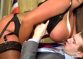 Good-looking dusky English Emma Butt performing in hardcore XXX video