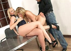 Blonde hotties Kathia Nobili and Brooklyn Lee gets nailed in ffm threesome