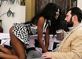 Ebony leggy cowgirl with sexy booty Daizy Cooper wanna ride fat prick on top