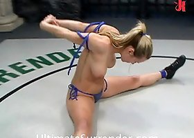 Blonde Fighter Gets Drilled by a Strapon Dildo and Face Sitted