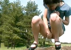 Hairy teen pussy pissing outdoors
