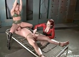 duet of mistresses give man slave a painful fuck experience