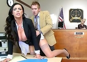 Slutty lawyer Nikki Benz fucked in court
