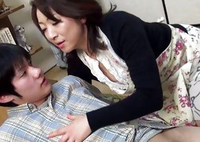 Cute and playful japanese lady is doing handjob to her bf