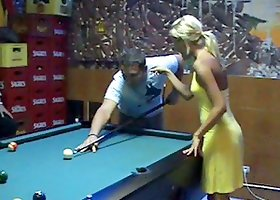 Hot Sophie Moone relax in a bar playing billiard with a guy