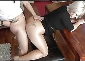 pantyhose milf doggy fucking high heels red nails