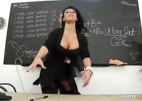Busty brunette Kerry rammed hard in the classroom