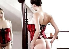 Busty Teen With Red Corset