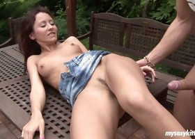 Pretty country gal Nathalie gets banged doggy and gives a solid blowjob