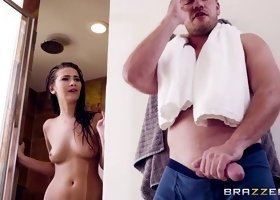 olivia swaps her toy with stepbro's cock in the shower