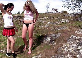 Two hotties go for a hike and eat pussy on a mountain top