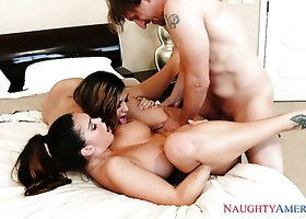 Horny hotties Alison Tyler and Heather Vahn get banged by Mark Ashley