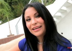 Sassy milf Sophia Lomeli shows off her huge boobs and sexy pussy