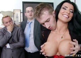 Danny D screws busty brunette MILF Romi Rain in the office