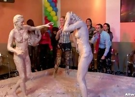 Mud wrestling girl is a winner
