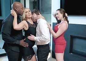 Julia Ann & Chanel Preston swap partners in an interracial foursome