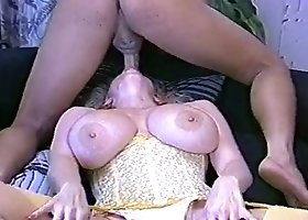 Just ugly curly whore gives titjob and gets fucked doggy style hard