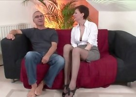 Slender Lara Latex being fucked by an old man