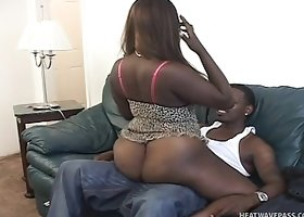 Busty plumper bitch shows off her big black booty and gets banged by BBC