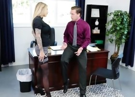 Karma RX gets bend over her office desk & fucked with a monster cock