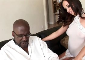 Gorgeous Jada Stevens smiles while riding the massive black sausage