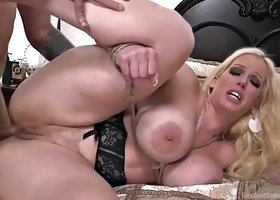 thick as hell mature blonde alura jenson is bondaged and fucked in both holes