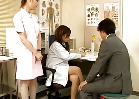 Tempting and hot japanese nurse is sucking huge phallus