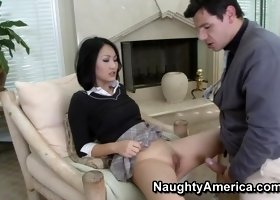 Marvelous flat chested oriental Evelyn Lin featuring nice facial cumshot porn movie