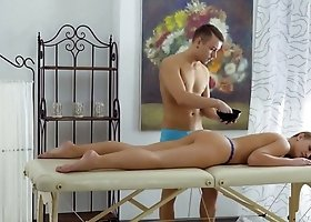 Nice looking emotional Brianna lets her masseur fuck her after massage