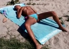 Blond Girl Pissing on the Beach