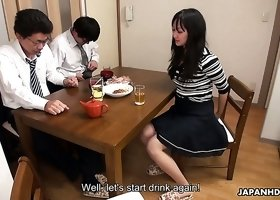 Too tired hubby falls asleep while his colleague fucks his wife Risa Kurokawa