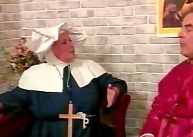 Naughty mature nun gets spanked by an old man indoors