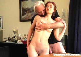 Sexy redhead seduces a pair of old guys to fuck her