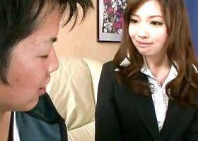Curious and straight babe Aiko Hirose is sucking his balls