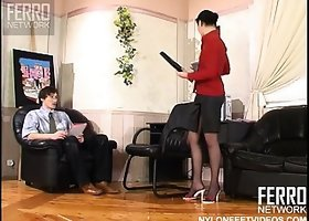 Cute woman in black pantyhose Rosa A seduces handsome boy Marcus