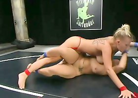 DragonLily gets her mouth and vag fucked with a strapon by Xana Star