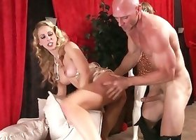 Glamour rich mom is riding a hard wiener of a bald guy