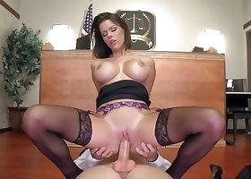 Latina is trying hard while sucking a dick of her boss