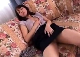 Pantyhose Oriental wife sensually rubs her aching pussy on