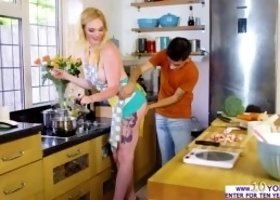 In the kitchen, naughty dude Jordi El Nino Polla is so aroused that he whips out his rock hard cock and begins rubbing it on his girlfriend Carly Rae