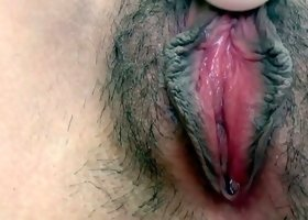 Cute and shy Japanese neighbour showed her hairy vagina
