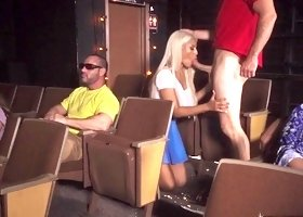 Madly horny blonde babe fucks stranger in the cinema