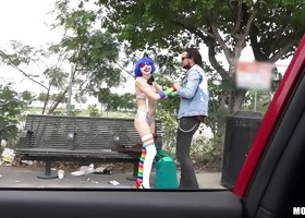 Cute and sad clown girl gets happy with a dick in her pussy