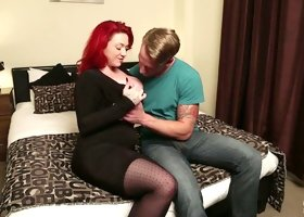 Red haired slut Harmony Reigns takes dick in doggy and cowgirl positions