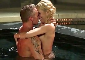 A blonde with a nice pair of tits is fucked in the pool and the living room