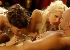 Roman emperor lets two sexy women suck and ride his cock